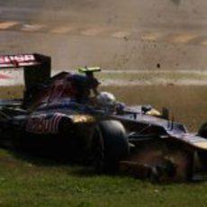 Accidente de Jean-Eric Vergne en el GP de Italia 2012