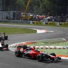 Charles Pic terminó por delante de los dos HRT en Monza