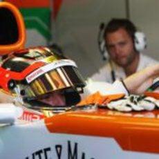 Jules Bianchi se subió al Vjm05 en los Libres 1 del GP de Italia 2012