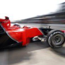 Timo Glock abandona el garaje para rodar sobre Monza