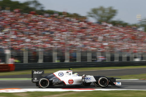 Sergio Pérez se subió al podio en Monza