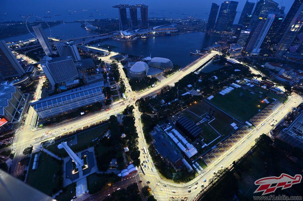 Circuito de Singapur de noche