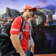 Felipe Massa llega al circuito de Marina Bay