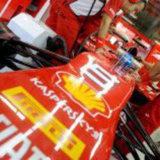 Los ingenieros ultiman detalles en el coche de Fernando Alonso