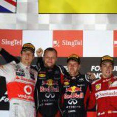 El podio del Gran Premio de Singapur 2012
