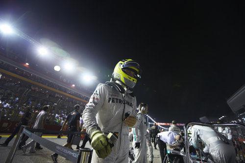 Nico Rosberg en la parrilla del GP de Singapur 2012