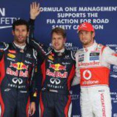Vettel, Webber y Button, los tres mejores de la clasificación en Suzuka