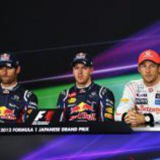 Vettel, Webber y Button en la rueda de prensa de la FIA