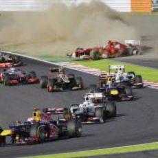 Fernando Alonso fuera de carrera tras la salida del GP de Japón 2012