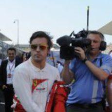 Fernando Alonso momentos antes de empezar el GP de Japón 2012