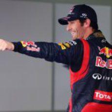Mark Webber celebra su segunda pole de la temporada en Corea