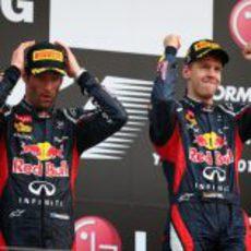 Vettel y Webber en el podio del GP de Corea 2012