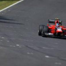 Charles Pic rueda en la Q1 del GP de Japón