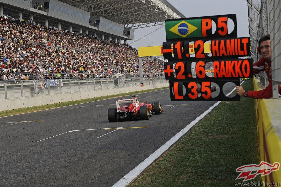Pizarra para Felipe Massa en el muro de Ferrari