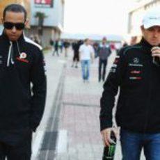 Hamilton y Rosberg, juntos en el GP de Corea 2012