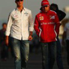 Schumacher y Massa, juntos en el GP de Corea 2012