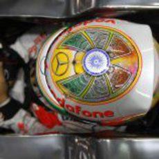Casco especial de Lewis Hamilton para el GP de India 2012