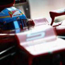 Primer plano de Fernando Alonso en India 2012
