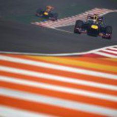 Sebastian Vettel y Mark Webber en los libres del GP de India