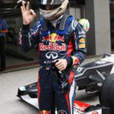 Sebastian Vettel, satisfecho tras conseguir la pole en India