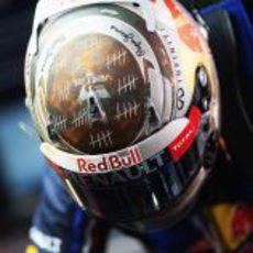 El casco de Sebastian Vettel en el GP de India 2012