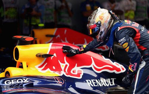 Sebastian Vettel acaricia a su toro rojo tras volver a ganar en India