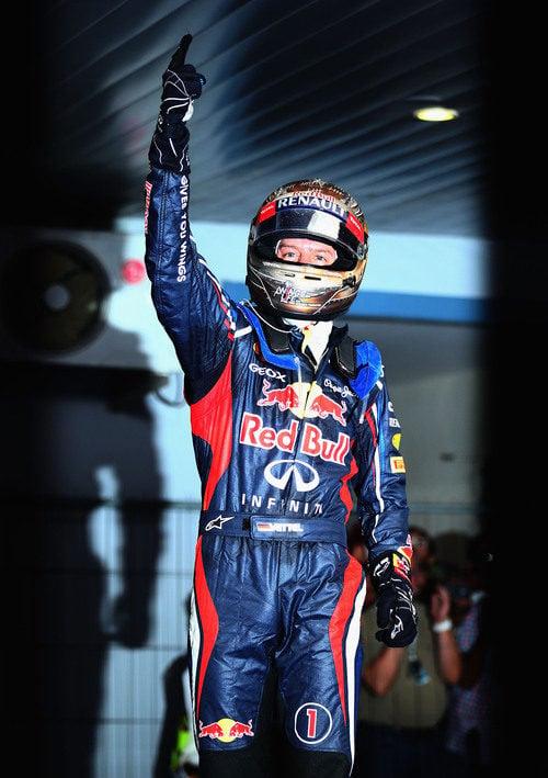 El gesto de la victoria de Sebastian Vettel