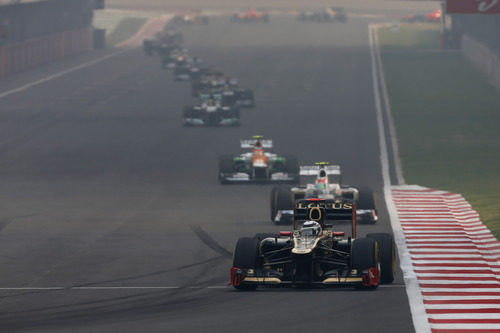 Kimi Räikkönen en la recta principal del circuito de Buddh