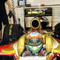 Narain Karthileyan pilota en el Buddh International Circuit