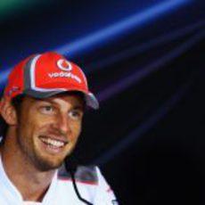 Jenson Button en la rueda de prensa de la FIA en Abu Dabi 2012
