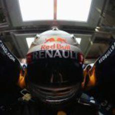 Primer plano de Vettel sentado en el RB8