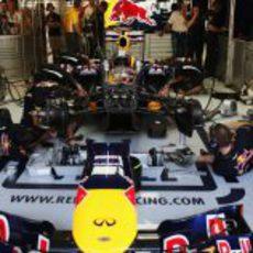 Los mecánicos de Red Bull trabajan en el coche a contrareloj