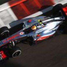 Lewis Hamilton en la clasificación del GP de Abu Dabi 2012