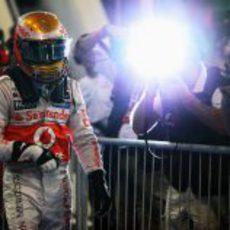 Lewis Hamilton tras lograr su 'pole position' en Abu Dabi 2012