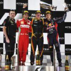 El podio del Gran Premio de Abu Dabi 2012