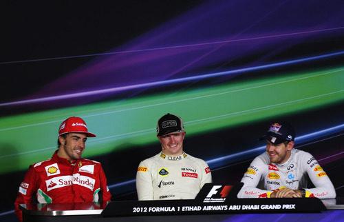 Räikkönen, Alonso y Vettel en la rueda de prensa tras carrera
