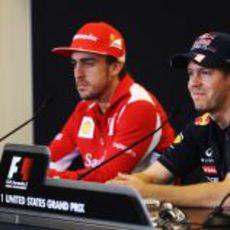 Fernando Alonso y Sebastian Vettel en Austin