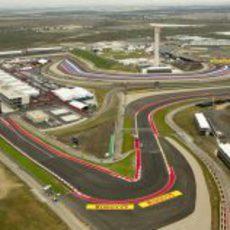 Vista aérea de la primera curva del Circuito de las Américas