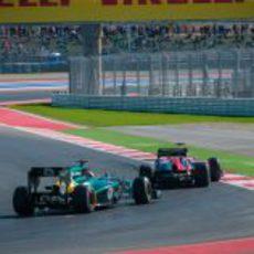 Kovalainen y Glock en los libres del GP de Estados Unidos 2012