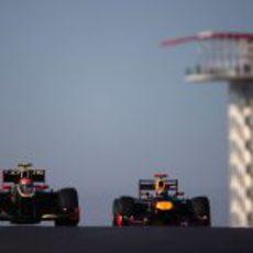 Grosjean y Vettel en los libres del GP de Estados Unidos 2012
