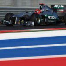 Michael Schumacher rueda en el Circuito de las Américas