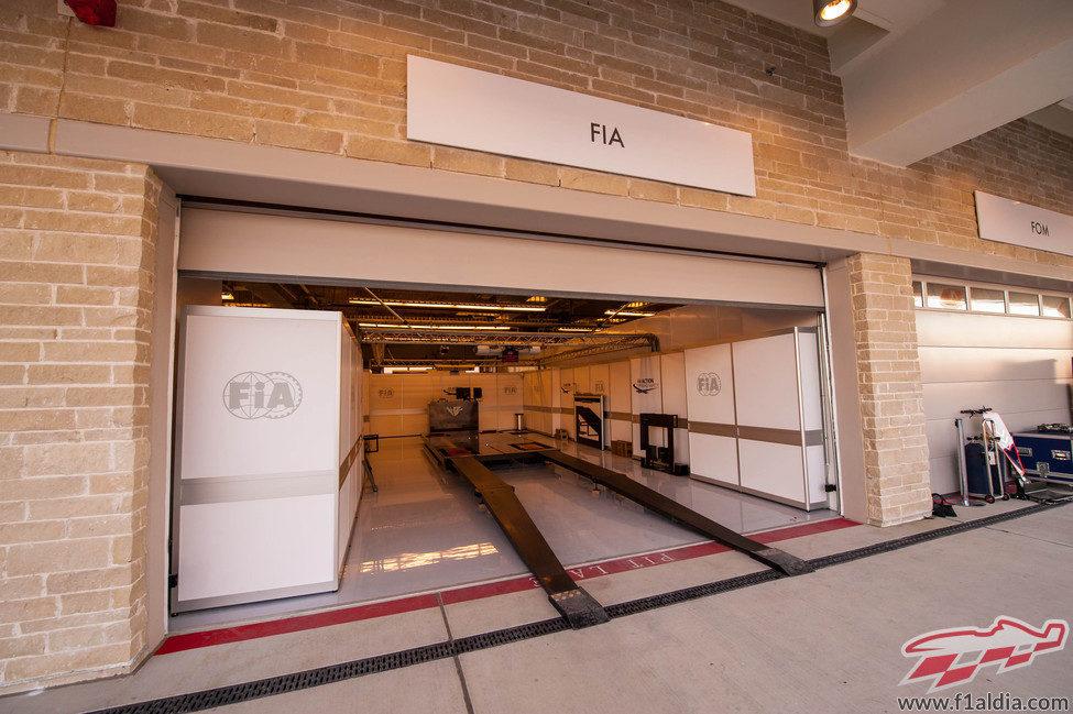 Zona de pesaje de la FIA