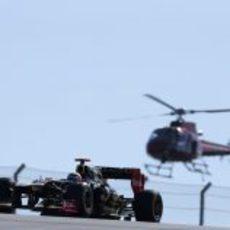 Kimi Räikkönen y el helicóptero