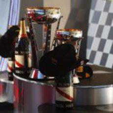 Trofeos y champán en el podio del GP de Estados Unidos 2012