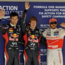 Vettel, Hamilton y Webber tras la clasificación de EE.UU.