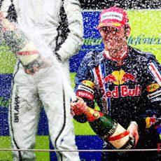 Webber celebra su podio en España
