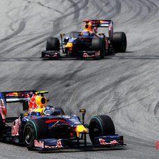 Vettel y Webber en el GP de España