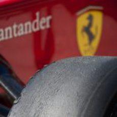 Detalle del neumático del Ferrari en Austin