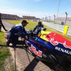 El coche de Mark Webber tras abandonar en Austin