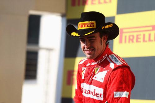 Fernando Alonso en el podio de Estados Unidos 2012